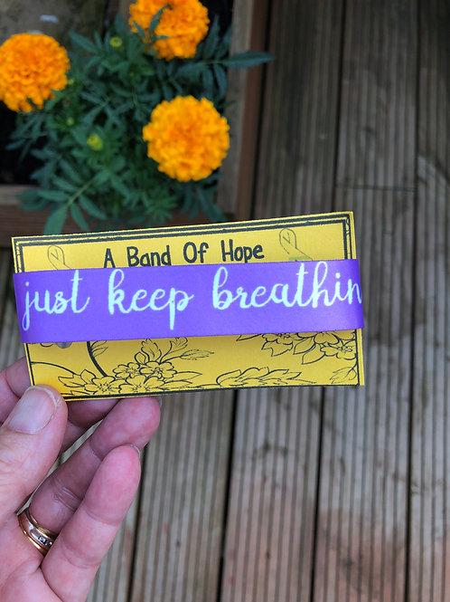 'just keep breathin' fabric adjustable bracelet