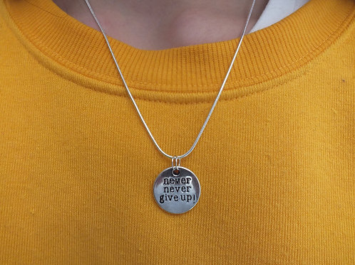 Never Give Up Mental Health Awareness Necklace