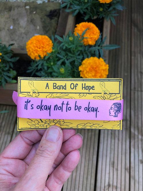 'it's okay not to be okay' adjustable fabric bracelet