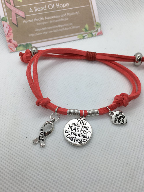 """You are the master of your own destiny"" double sided motivational bracelet"