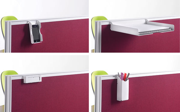 Screen mounted desk accessories