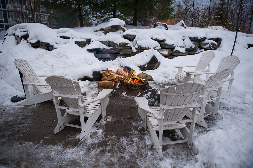 firewood pit surrounded by white Adirond
