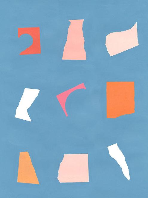 Floating Fragments on Blue 1