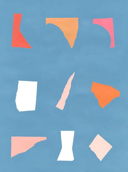 Floating Fragments on Blue 2