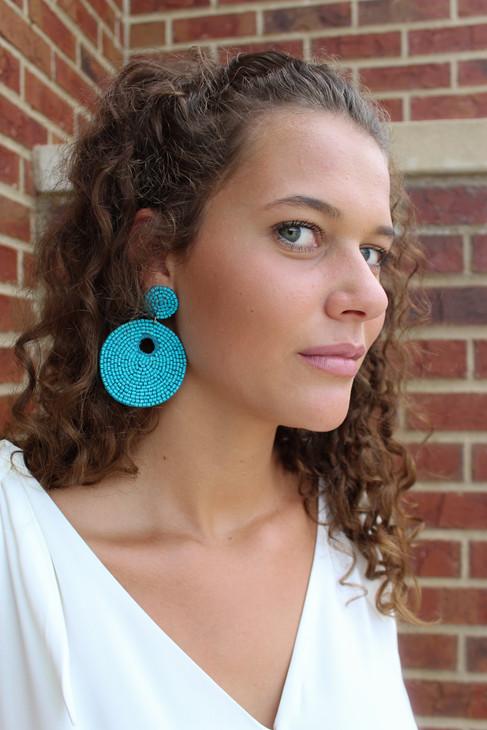 Circular Seed Bead Post Earrings