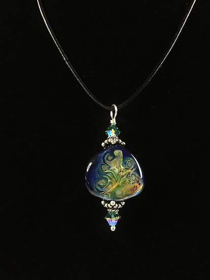 Blue, Green, Gold Fantasy Pendant with Black Leather cord
