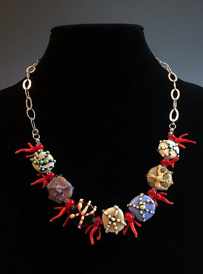 Starfish with Red Coral Necklace and Earring Set