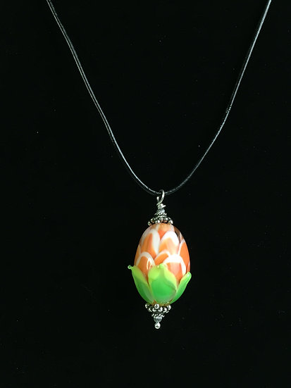 Mango, White and Green Petal Drop Pendant with a Black Leather Cord