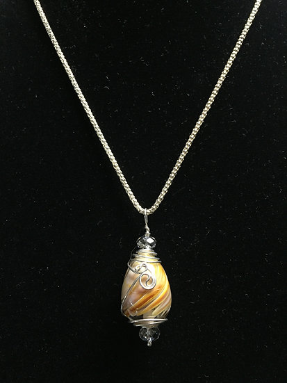 Caramel Colored Swirled Drop Pendant with Sterling Silver Wire Wrapping & Chain