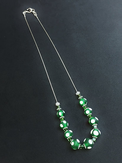 Greeen and White Polka Dots Handmade Lampwork Beads with a Silver Chain