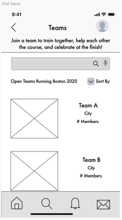 Team Results Wireframe