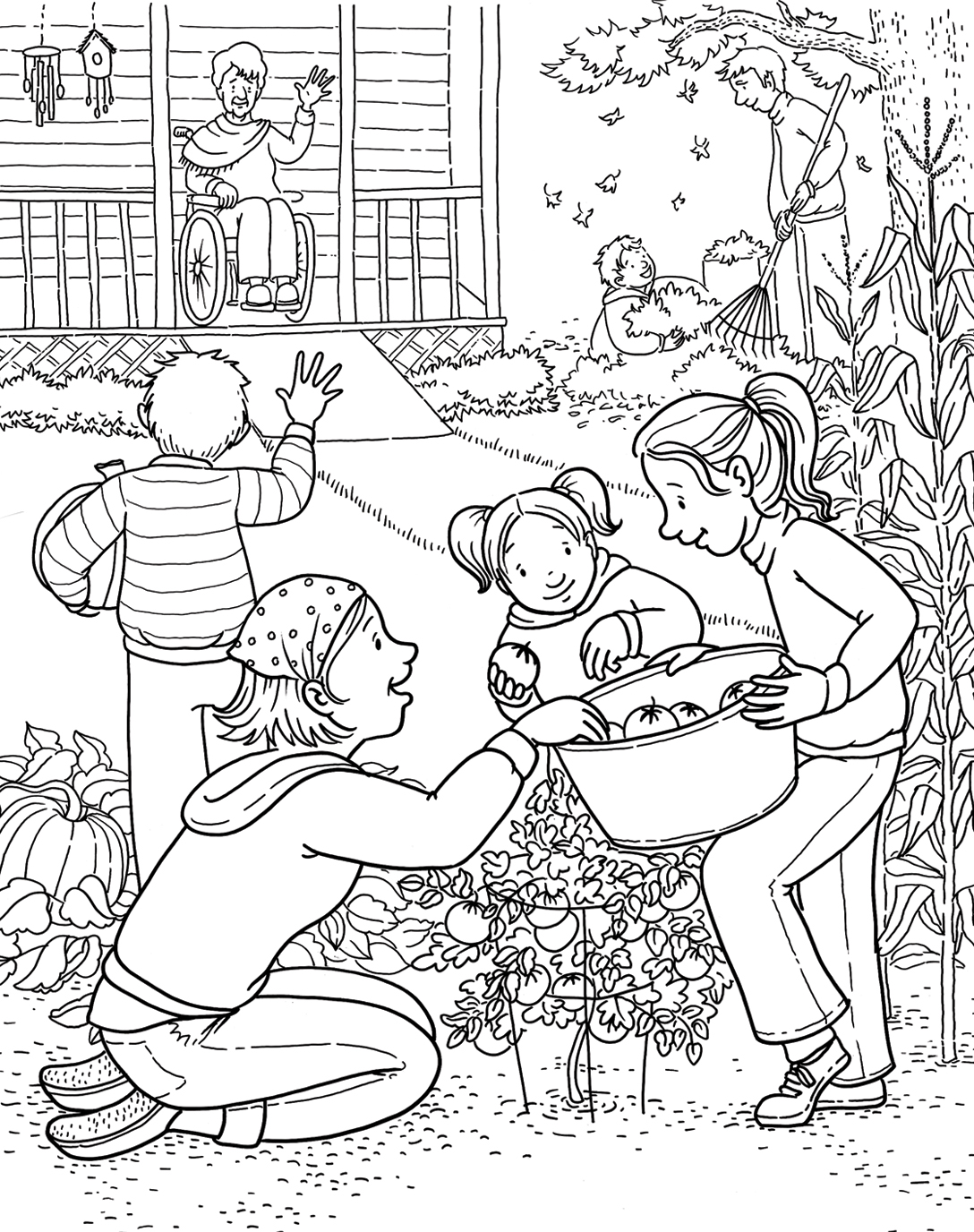 Family Harvest Coloring Page