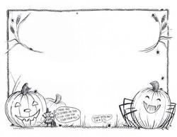 Halloween Pumpkin Spider Border