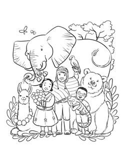 ElephantLamaBearIguanaMulticulturalColoringPage-AprylStott