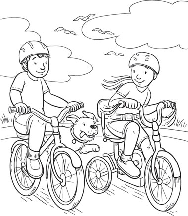 Bike Riding Coloring Page