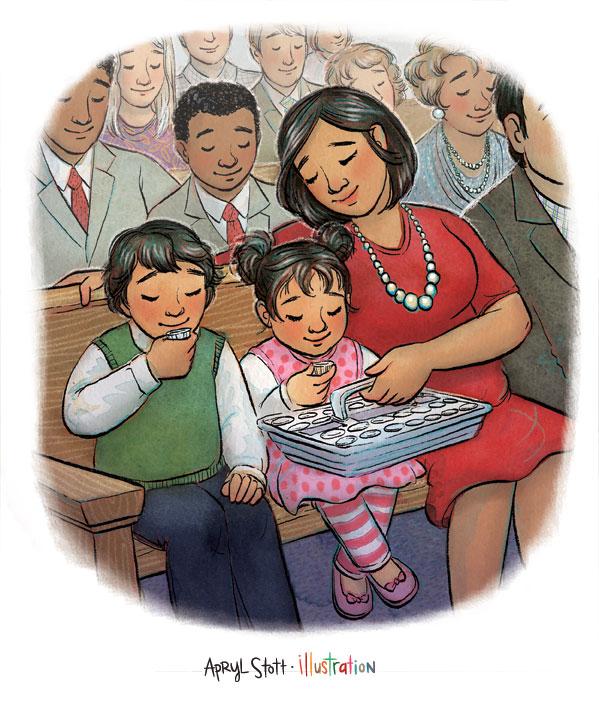 JesusGaveUsTheSacrament-FamilyTakingSacrament-AprylStott