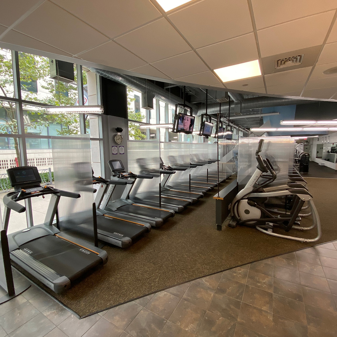Cardio equipment with barrier shields