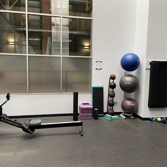 Rower + stretching area