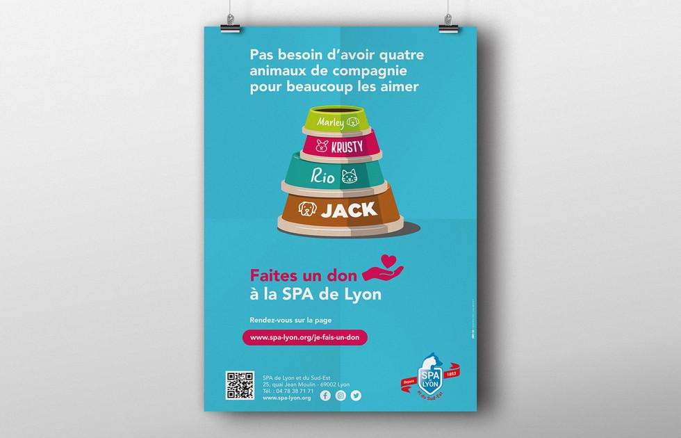 Affiche campagne de dons SPA de Lyon