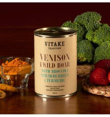 Vitaké tradition cerf et sanglier avec brocoli, fraises et safran (6x400gr)