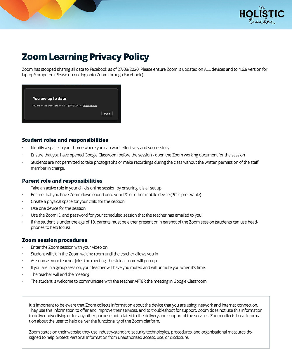 The Holistic Teacher Zoom Learning Privacy Policy