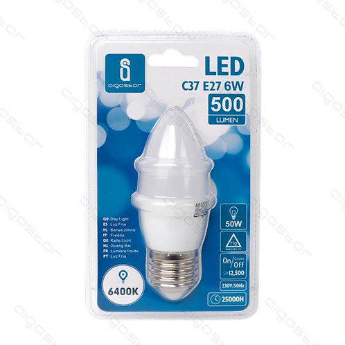 AIGOSTAR LED LAMPE E27 6W C37 KALT