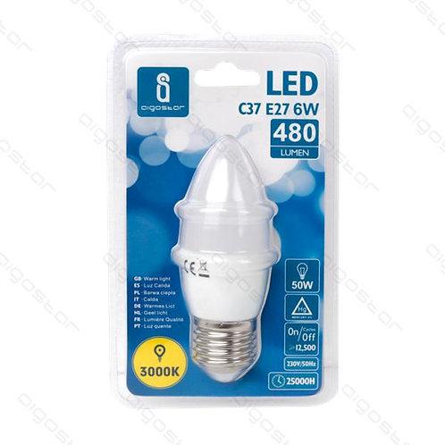AIGOSTAR LED LAMPE E27 6W C37 WARM