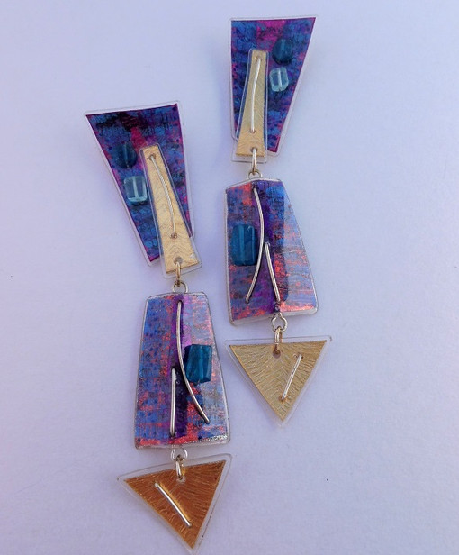 Retrangle jangle dangle earrings, blue, price guide £59