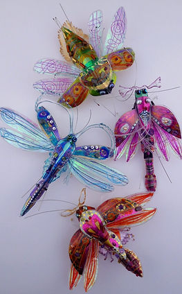insect jewellery, insect sculpture, colourful recycled plastic bottles, recyled mixed media, Hannah Coates jewellery