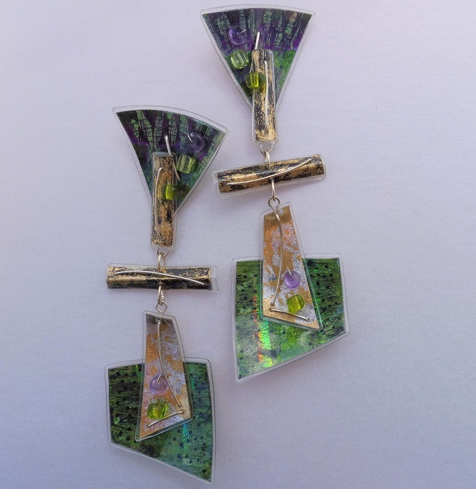 Retrangle jangle dangle earrings, green, price guide £59