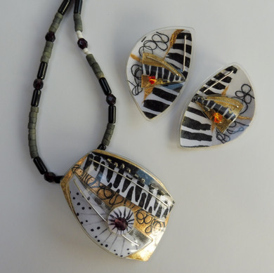 Eclectic Monochrome necklace and earrings
