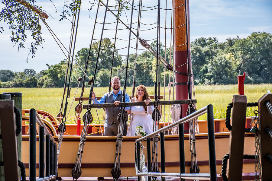 elopement fun on the pirate ship at Charles Towne Landing