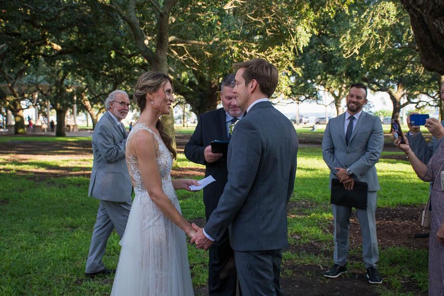 wedding ceremony at white point gardens charleston sc