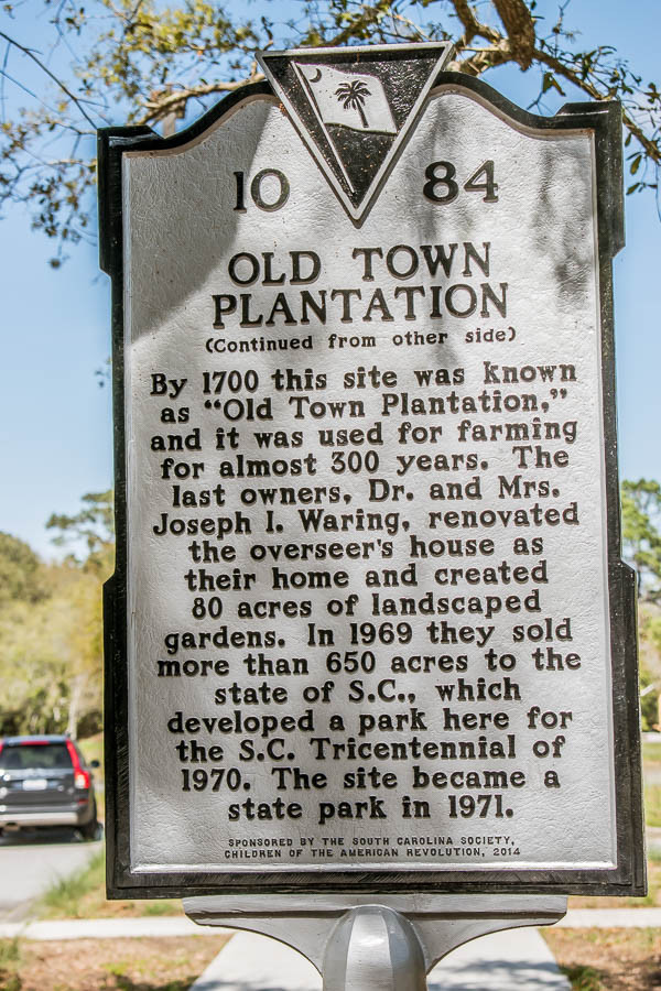 old town plantation back of sign