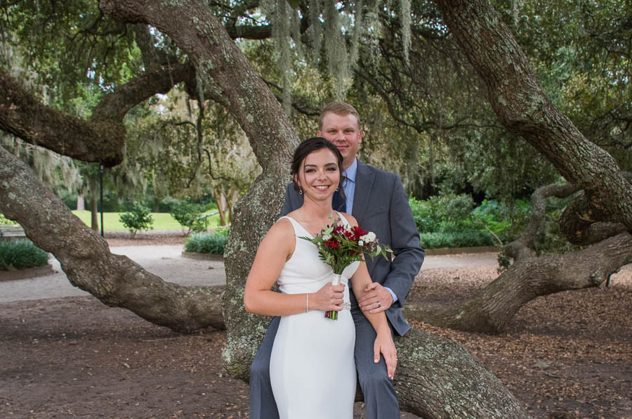Elopement with large mossy trees SC