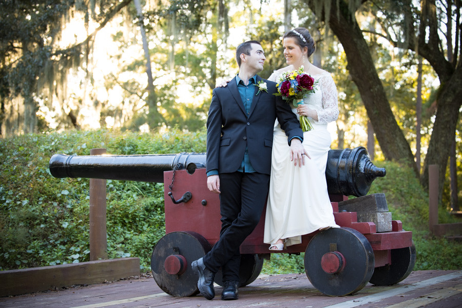 elopement photo on the cannon