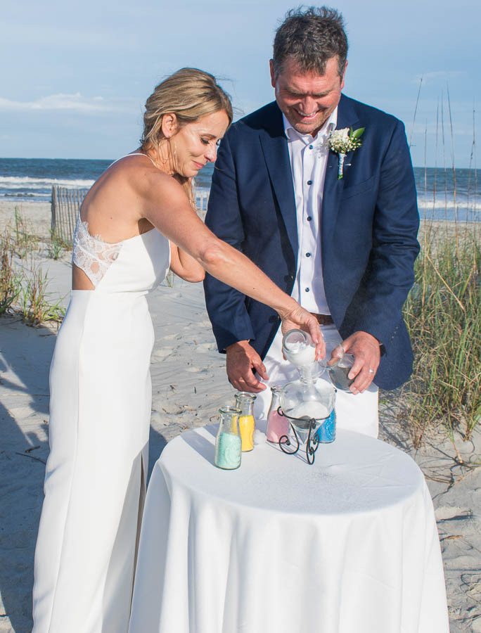 unity sand ceremony on the beach in south carolina