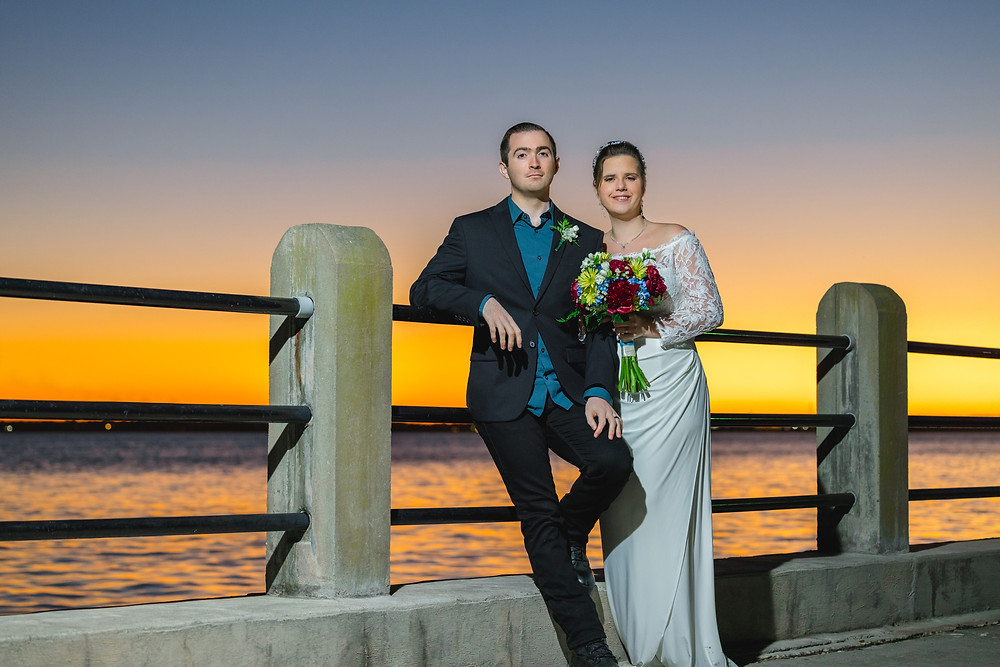 sunset elopement at charleston sc harbor