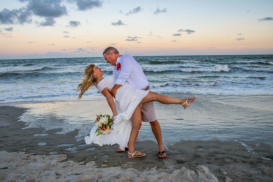 romantic sunset beach elopement isle of palms sc