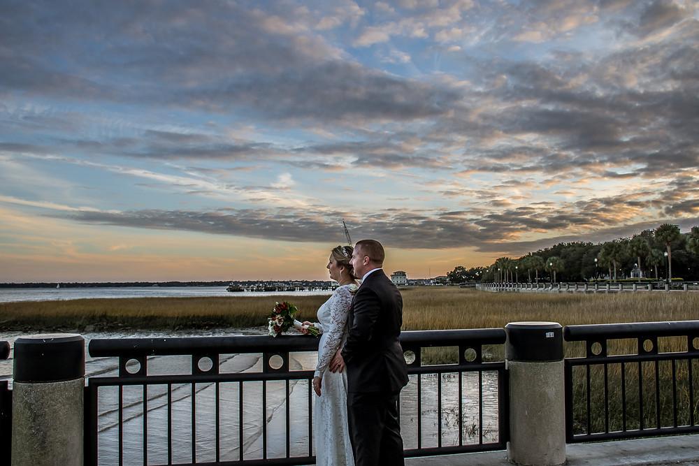 charleston harbor wedding photo at waterfront park