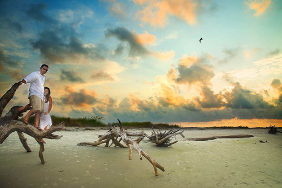 boneyard section of Folly Beach sc sunset elopement