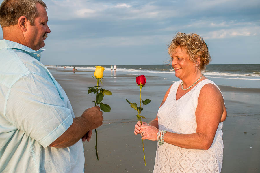 yellow and red rose exchange wedding ceremony at sc beach
