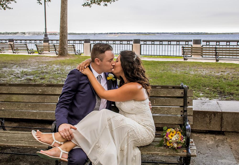 overlooking the charleston harbor elopement