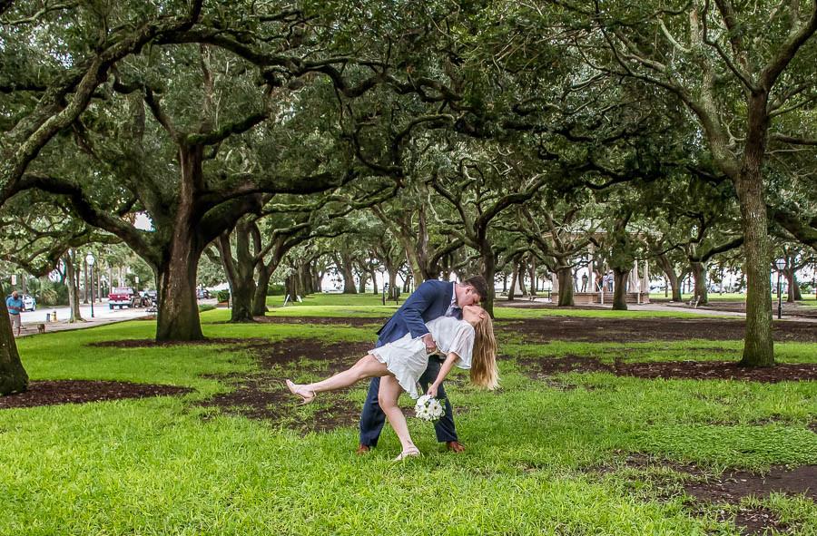 dipped kiss in avenue of oaks