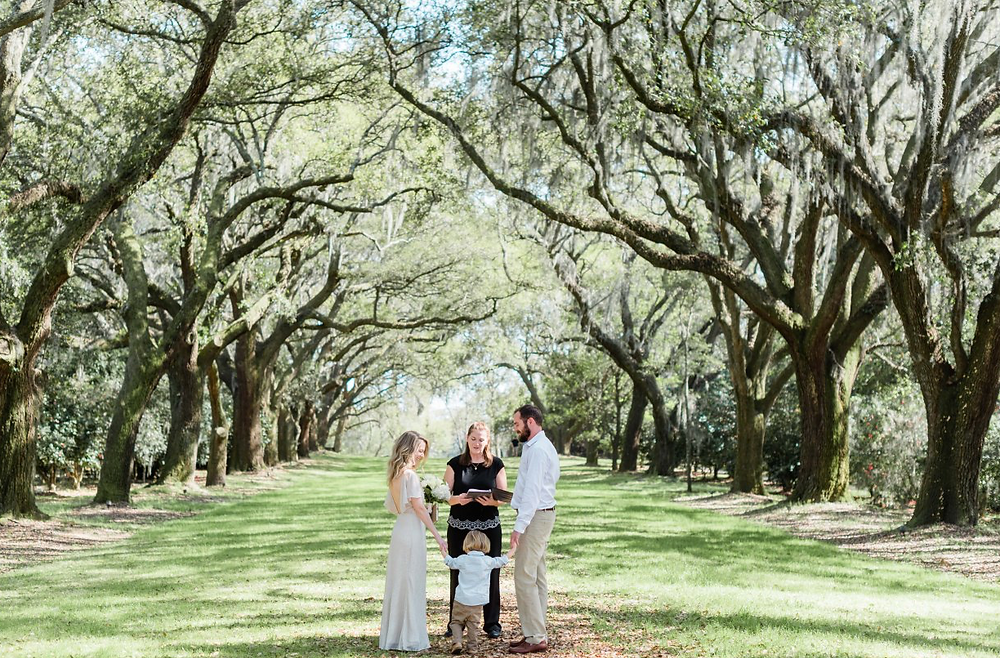 Spring 2020 Elopement ceremony avenue of oaks