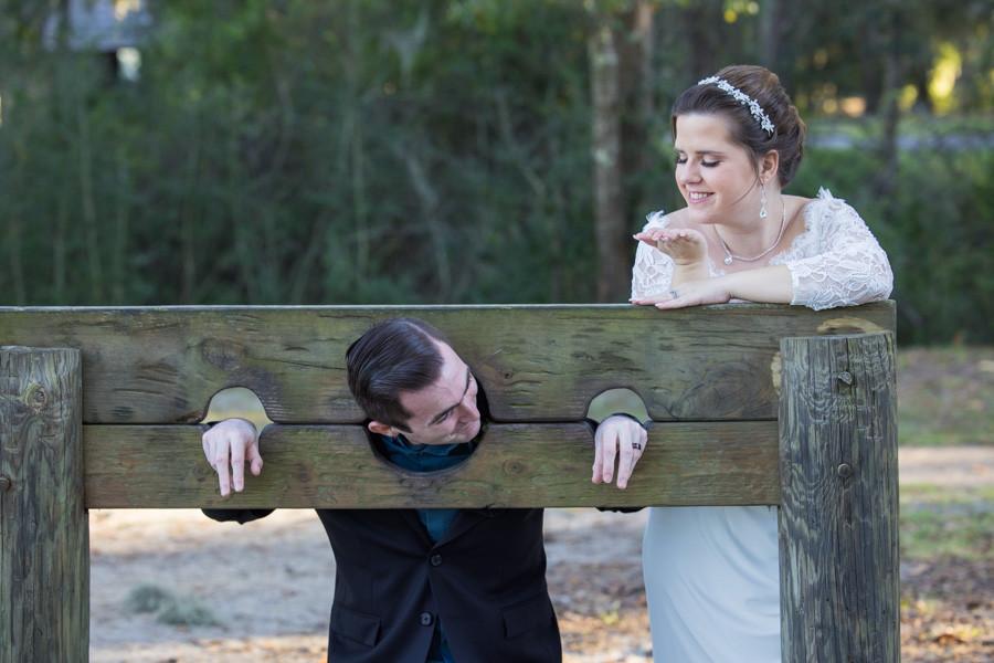 groom in shackles bride blows kiss charleston sc