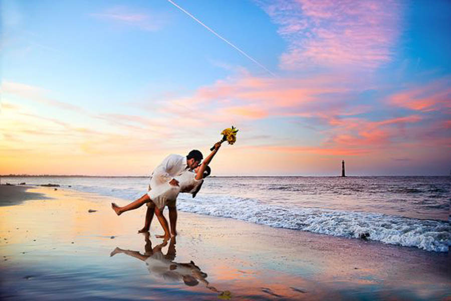 sunrise elopement photo at folly beach