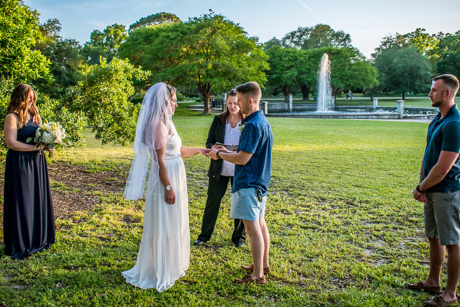 elopement ceremony by the fountain at hampton park charleston sc