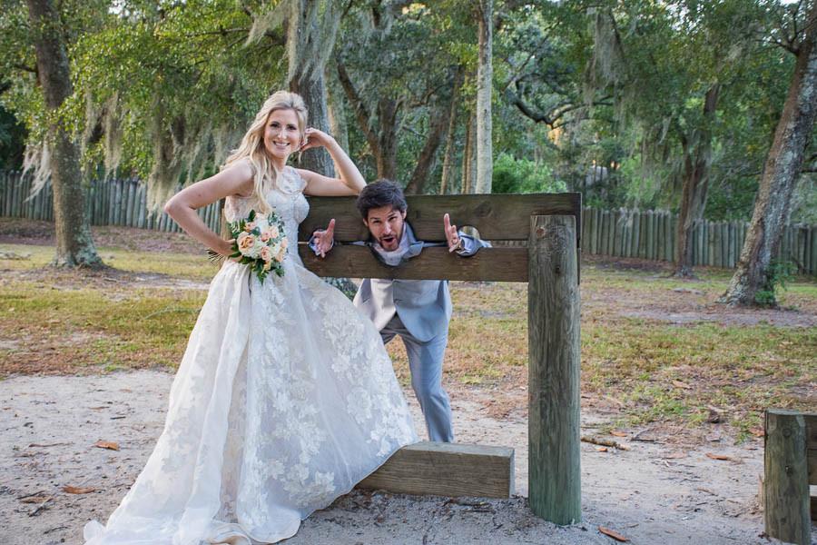 fun wedding poses at charles towne landing