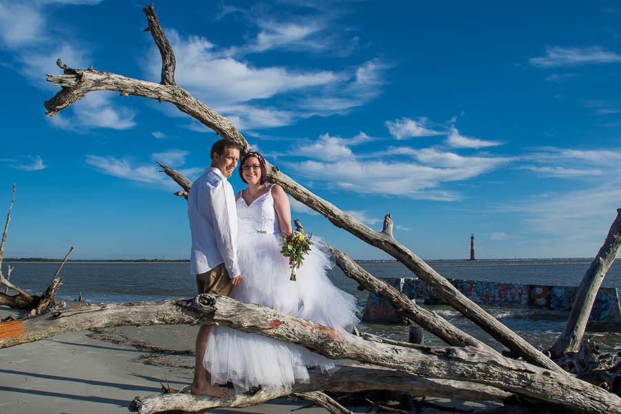 folly beach lighthouse elopement